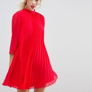 Asos Pleated Red Trapeze Mini Red Dress 4